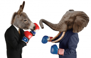 A donkey with red boxing gloves fighting an elephant wearing blue boxing gloves