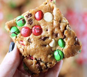 Blondie cookies with m&m's