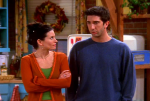 Ross and Monica from Friends arguing