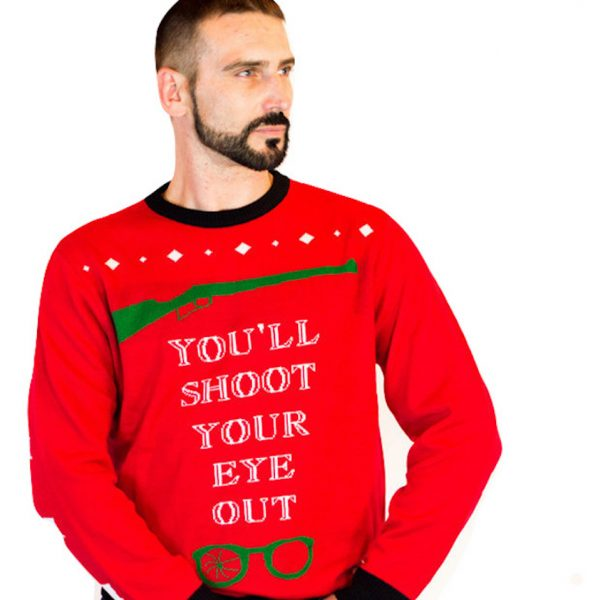 c5bb577cf62 Christmas Story Shoot Your Eye Out Ugly Sweater Unisex