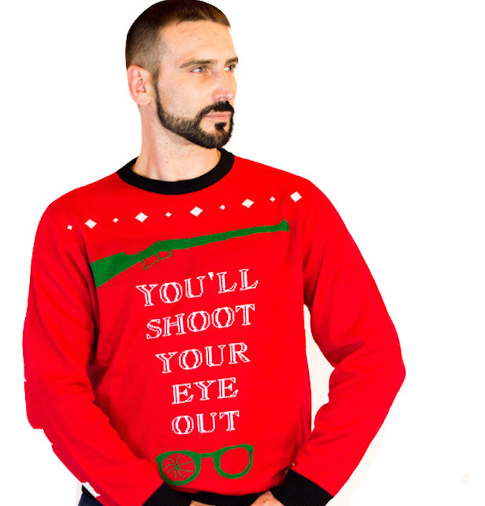 shoot your eye out ugly christmas sweater