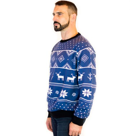 Classic Christmas Blue Deer Men's Ugly Sweater 3