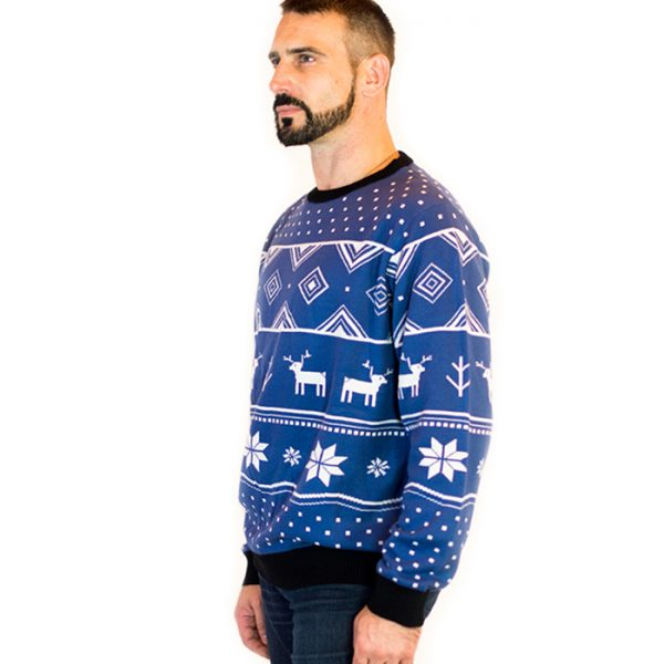 classic christmas blue deer mens ugly sweater 3 - Classic Christmas Sweaters