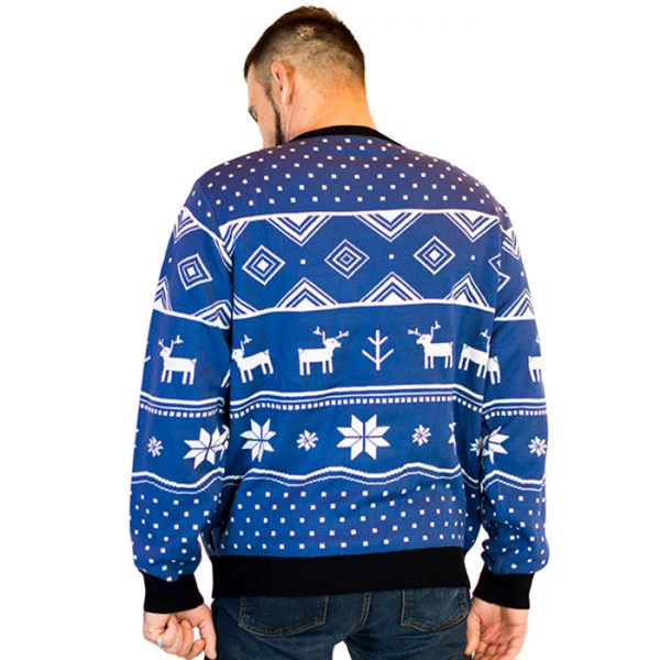 classic christmas blue deer mens ugly sweater 2 - Christmas Blue