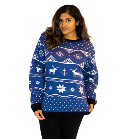 Classic Christmas Women's Blue Deer Ugly Sweater