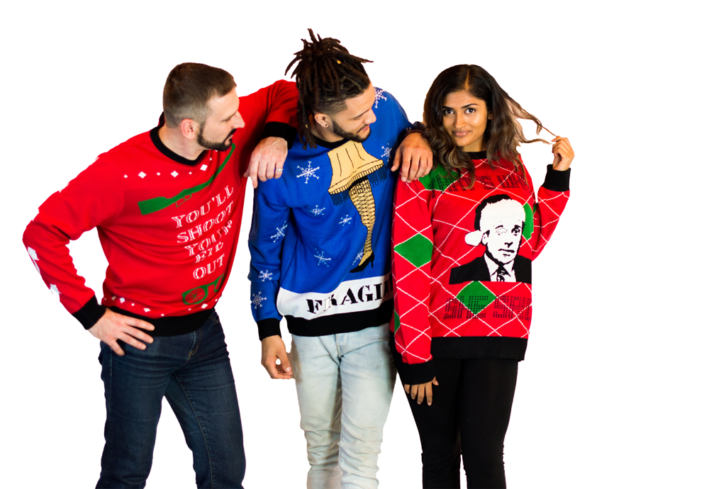 group shot ugly christmas sweaters