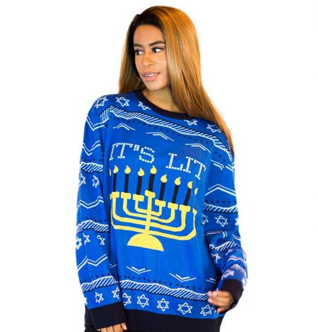 Women's It's Lit! Ugly Hanukkah Sweater 1
