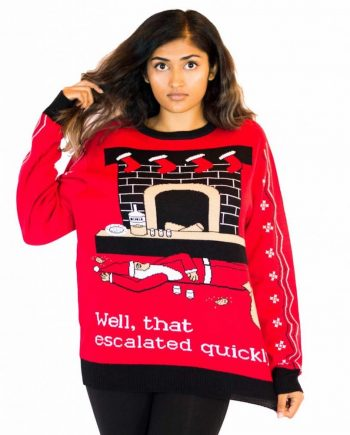 escalated ugly christmas sweater woman