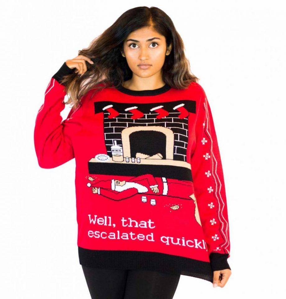 escalated ugly christmas sweater woman
